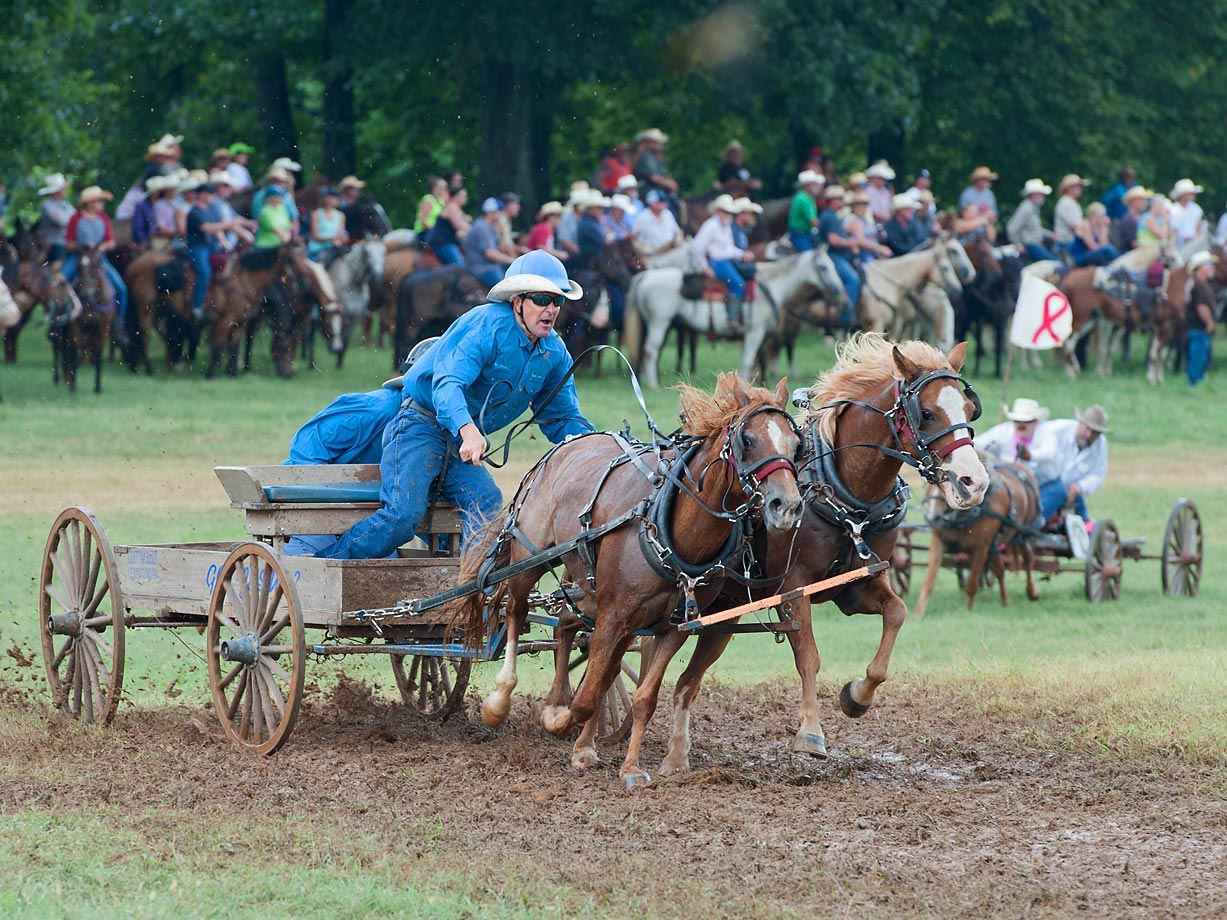 Matt Wagner wears his equestrian helmet over his western hat as his teammate and cook Billy Carter hides behind during the Buckboard Division.