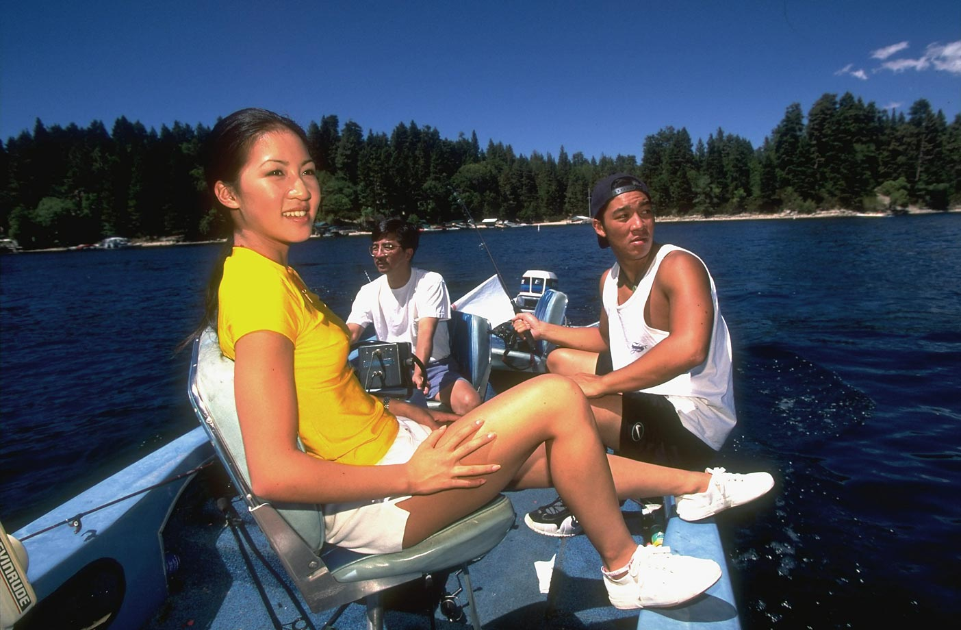 The two-time Olympic medalist and five-time world champion fishing with her father, Danny, and brother Ron in 1997. At that time, Kwan was still a year away from her first Olympic appearance -- a silver medal at the Nagano Olympics. In 2002, she added a bronze.