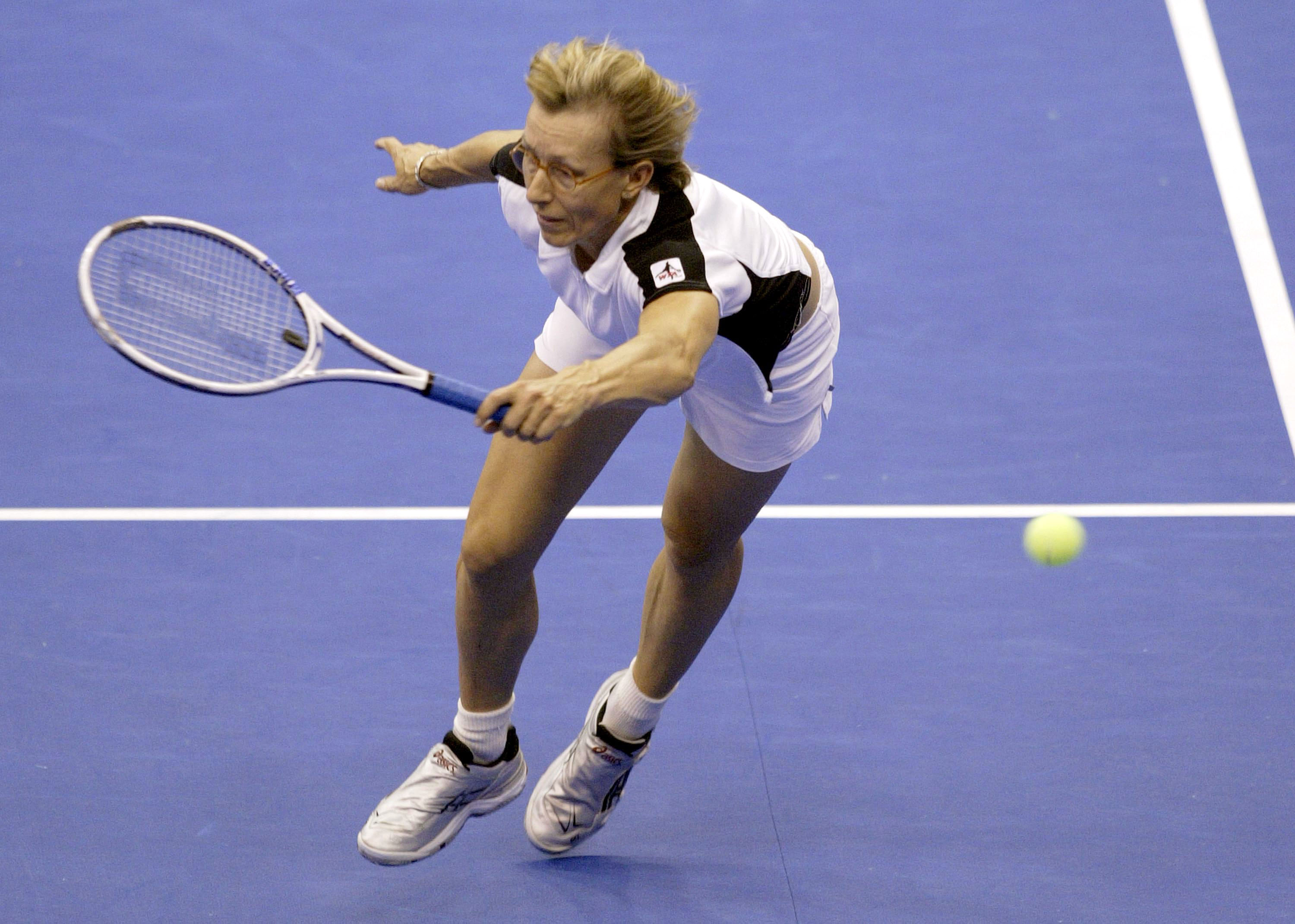 Ever the stalwart, Martina Navratilova played doubles with Svetlana Kuznetsova