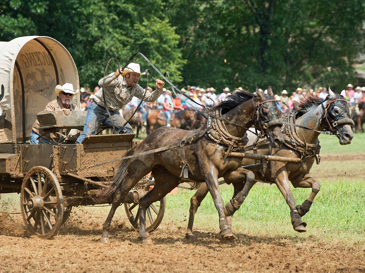 """Dustin Humphrey drives team """"Rockin H Land & Cattle"""" as cook Stan Rippey oversees. Their team held the lead for the Classic Wagon Division after 2 days of racing."""