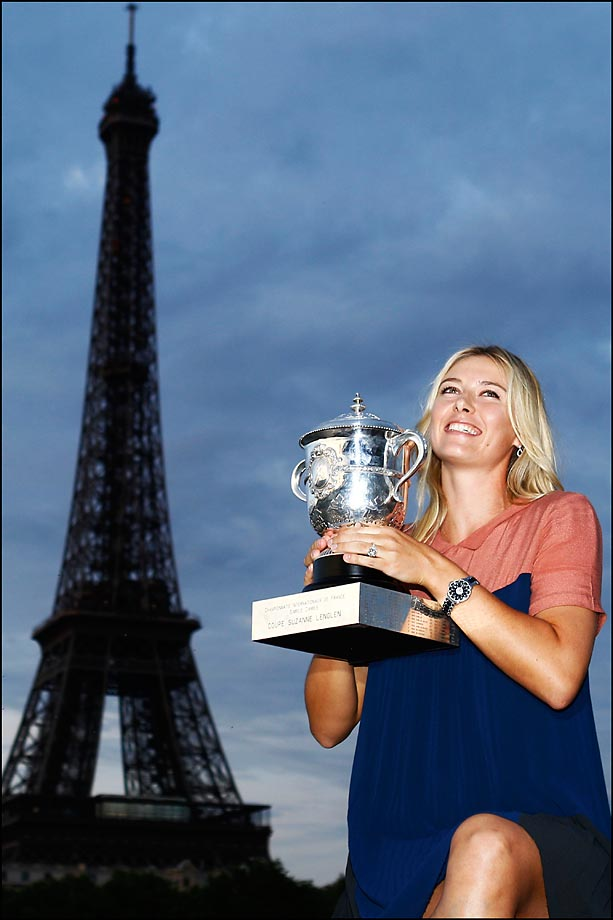Sharapova with her French Open trophy.