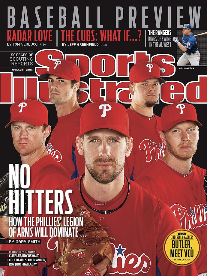 Lee (center) chose to return to Philadelphia following the 2010 season, complementing a highly-touted rotation filled out by (left to right) Roy Oswalt, Cole Hamels, Joe Blanton and Roy Halladay.