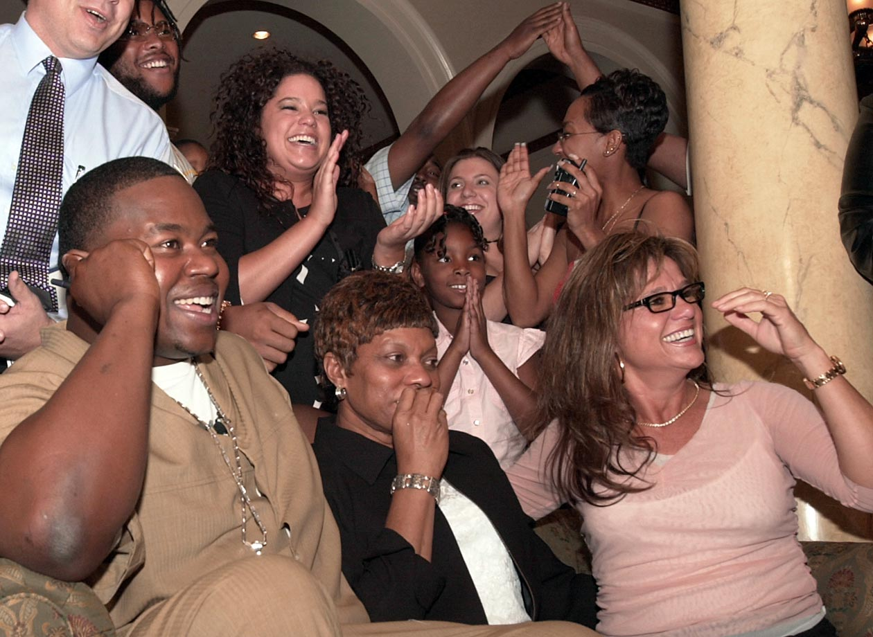Arkansas offensive tackle Shawn Andrews reacts with his mother and friends after learning he was selected 16th by the Philadelphia Eagles in 2004.