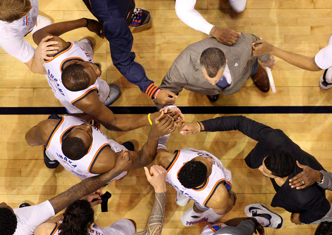 The Oklahoma City Thunder huddle before taking on the Indiana Pacers.