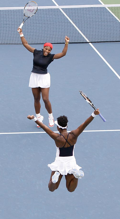 Serena and Venus rejoice after they beat Anabel Medina Garrigues and Virginia Ruano Pascual of Spain during the gold medal match at the Beijing Olympics.