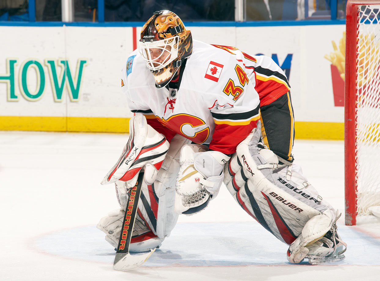 He switched to 34 after arriving from San Jose to find Dean McAmmond wearing his preferred 37 in Calgary. Hadn't done too shabbily, reaching the 2004 Stanley Cup Final and beating out Martin Brodeur for the Vezina in 2006.