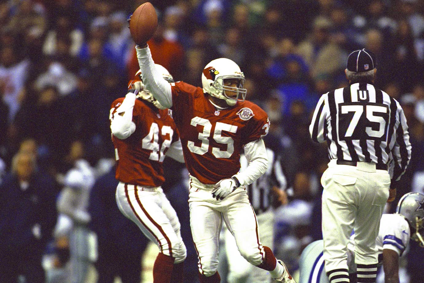 Williams defined the term 'ballhawk'—he intercepted 55 passes and recovered 23 fumbles during his Hall of Fame career. He led the league with nine interceptions in 1994, the first of his eight Pro Bowl years.