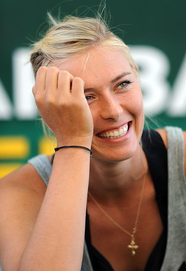 """Sharapova during a promotion of her new candy line """"Sugarpova"""" in the Village area of the Indian Wells Tennis Garden in Indian Well, Calif."""