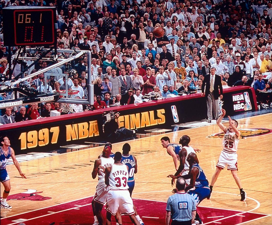 In Game 6, it wasn't Jordan or Pippen (though they combined for 62 points) but rather Bulls guard Steve Kerr who sealed Chicago's fifth title, with a 17-footer.
