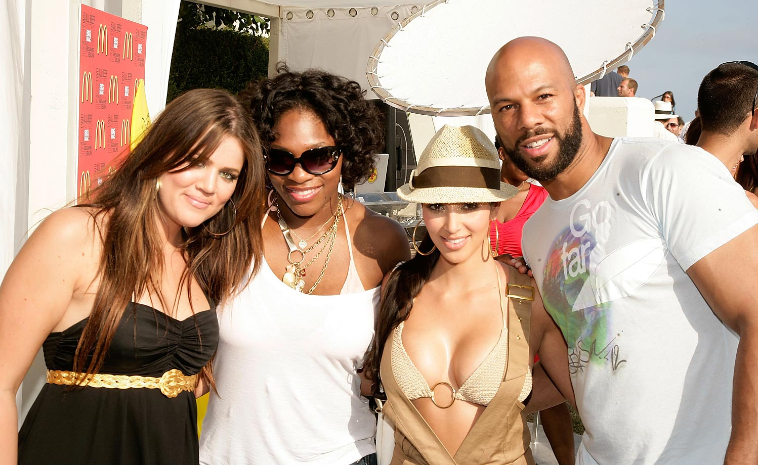 Serena poses with Kim and Khloe Kardashian and rapper Common, whom she once dated.