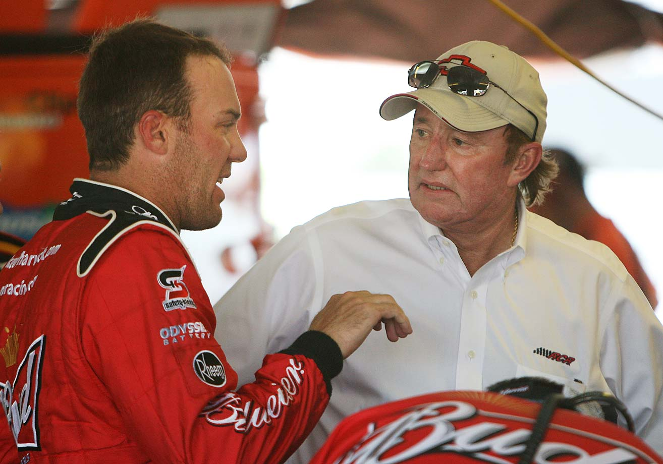 Kevin Harvick chats with team owner Richard Childress during practice at Pocono Raceway in 2011.