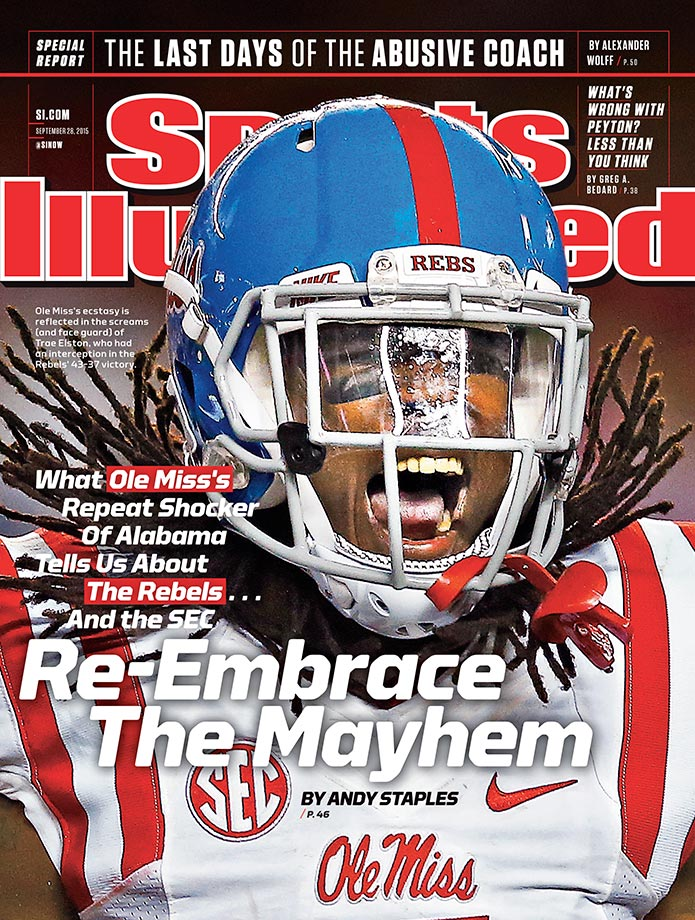 September 28, 2015 | After a 3–0 start to their season, the Ole Miss Rebels and defensive back Trae Elston are featured in a Sports Illustrated cover story by Andy Staples. In wins over UT Martin, Fresno State and Alabama, Elston, a senior, logged a team-leading three interceptions for 159 yards and two touchdowns with 12 total tackles.