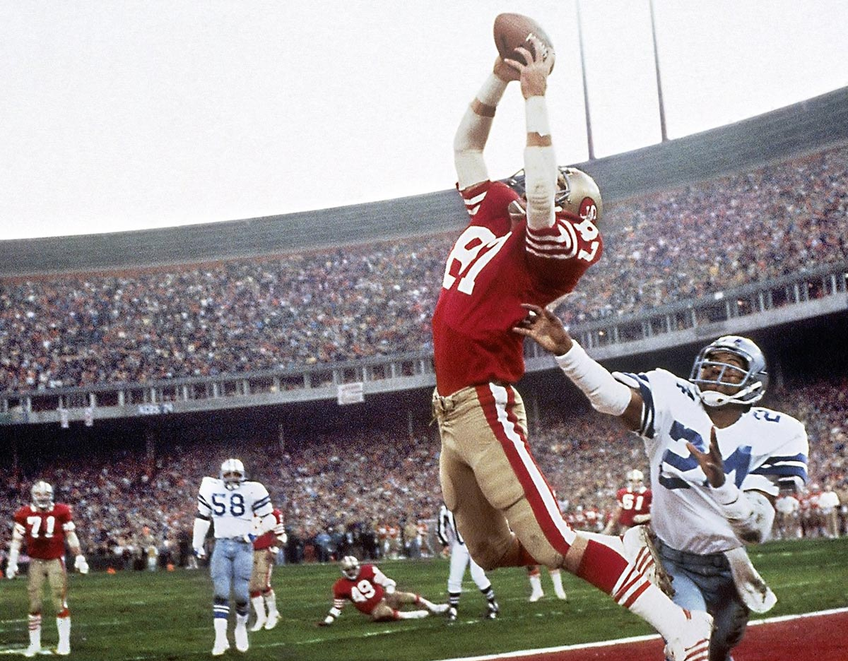 "NFC Championship Game, Jan. 10, 1982 | Known simply as ""The Catch,"" the reception by San Francisco 49ers wide receiver Dwight Clark resulted in a six-yard touchdown pass from Joe Montana to give the 49ers a 28-27 victory over the Dallas Cowboys. The victory would propel the 49ers to the Super Bowl, where they defeated the Bengals."