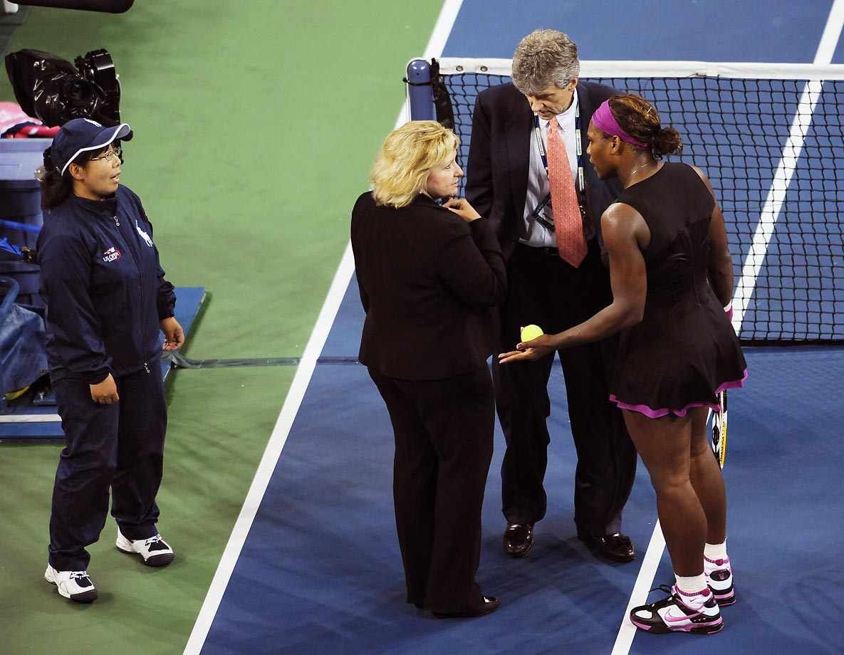 Serena famously lost her temper at the 2009 U.S. Open, berating the line judge for calling a foot fault. She was assessed a point penalty, which happened to be on match point in the semifinal, giving the victory to Clijsters, 6-4, 7-5.