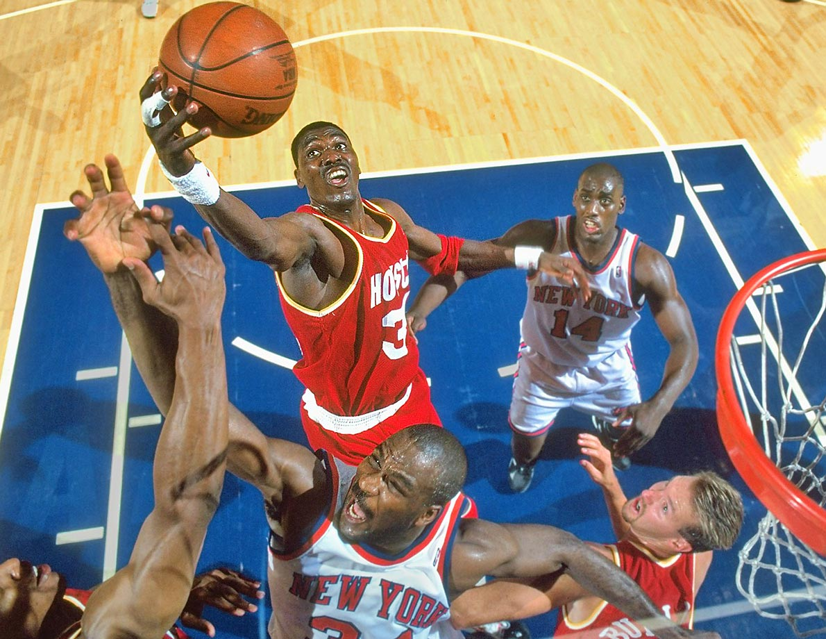 Hakeem Olajuwon was named Finals MVP, averaging nearly 33 points for the series to bolster the Rockets to their first title, in a four-game sweep.