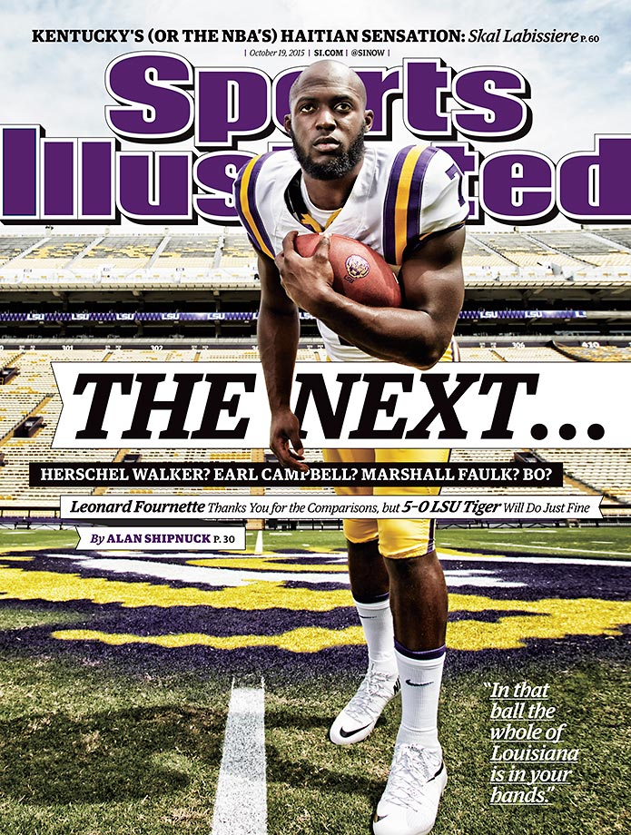 October 19, 2015 | This week's cover of Sports Illustrated features LSU sophomore running back Leonard Fournette, who has led his Tigers to a 5–0 record and a No. 6 national ranking.