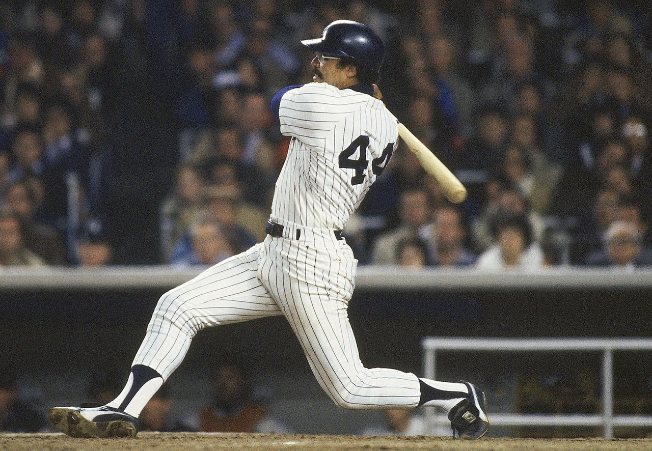 """Mr. October"" is sixth on the all-time home run list with 563 career homers and won the AL MVP in 1973 as a member of the Oakland Athletics. He spent only five seasons with the Yankees, from 1977 to 1981, but in that time was a lightning rod, as he had come to New York on a then-massive five-year, 2.96 million deal. Despite his public feuds with manager Billy Martin and owner George Steinbrenner, Jackson helped the Yankees win the World Series in 1977 and 1978, and was named the World Series MVP in '77. In that series against the Dodgers, Jackson blasted five homers, including three in the clinching Game 6, all on the first pitch. He made the All-Star team all five seasons he was in the Bronx. Jackson retired in 1987 and was elected to the Hall of Fame in 1993."