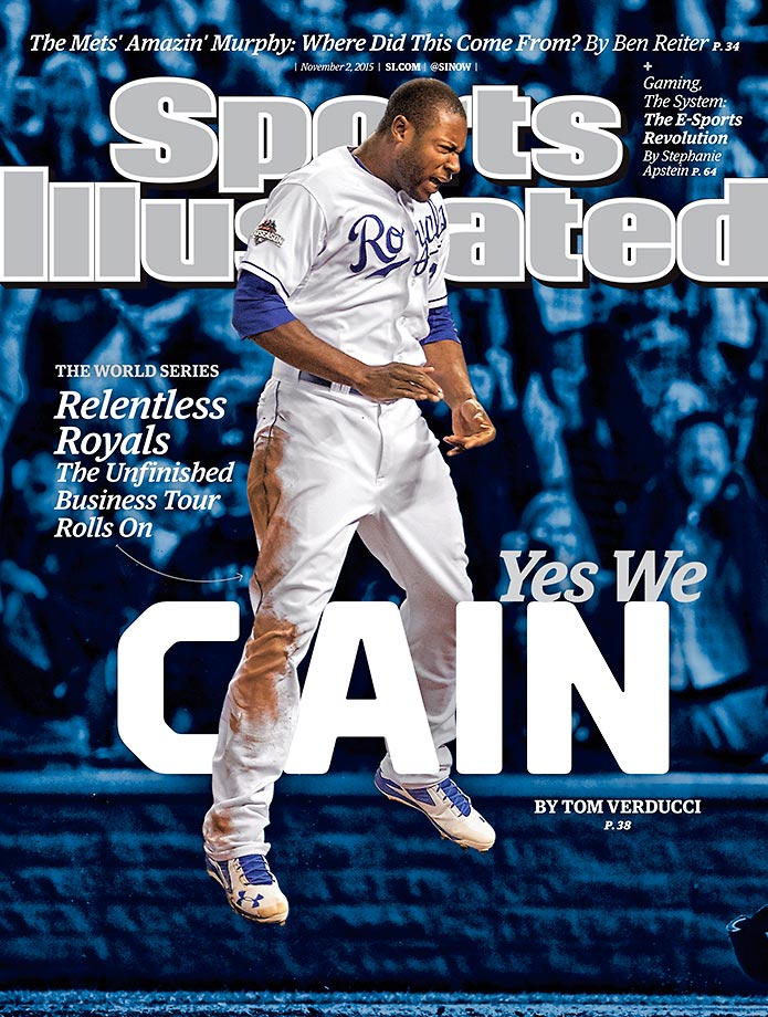 November 2, 2015 | With the Kansas City Royals back in the World Series,  centerfielder Lorenzo Cain appears on a regional issue of Sports Illustrated. Cain was the 2014 ALCS MVP and hit .300 in this year's ALCS as the Royals peppered the Toronto Blue Jays with hits to score 38 runs and earn a ticket to baseball's finale.