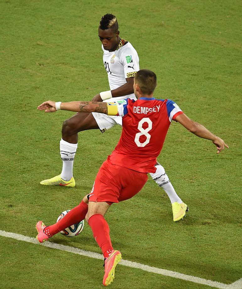 Dempsey' goal made him the first U.S. player to score in three different World Cups.