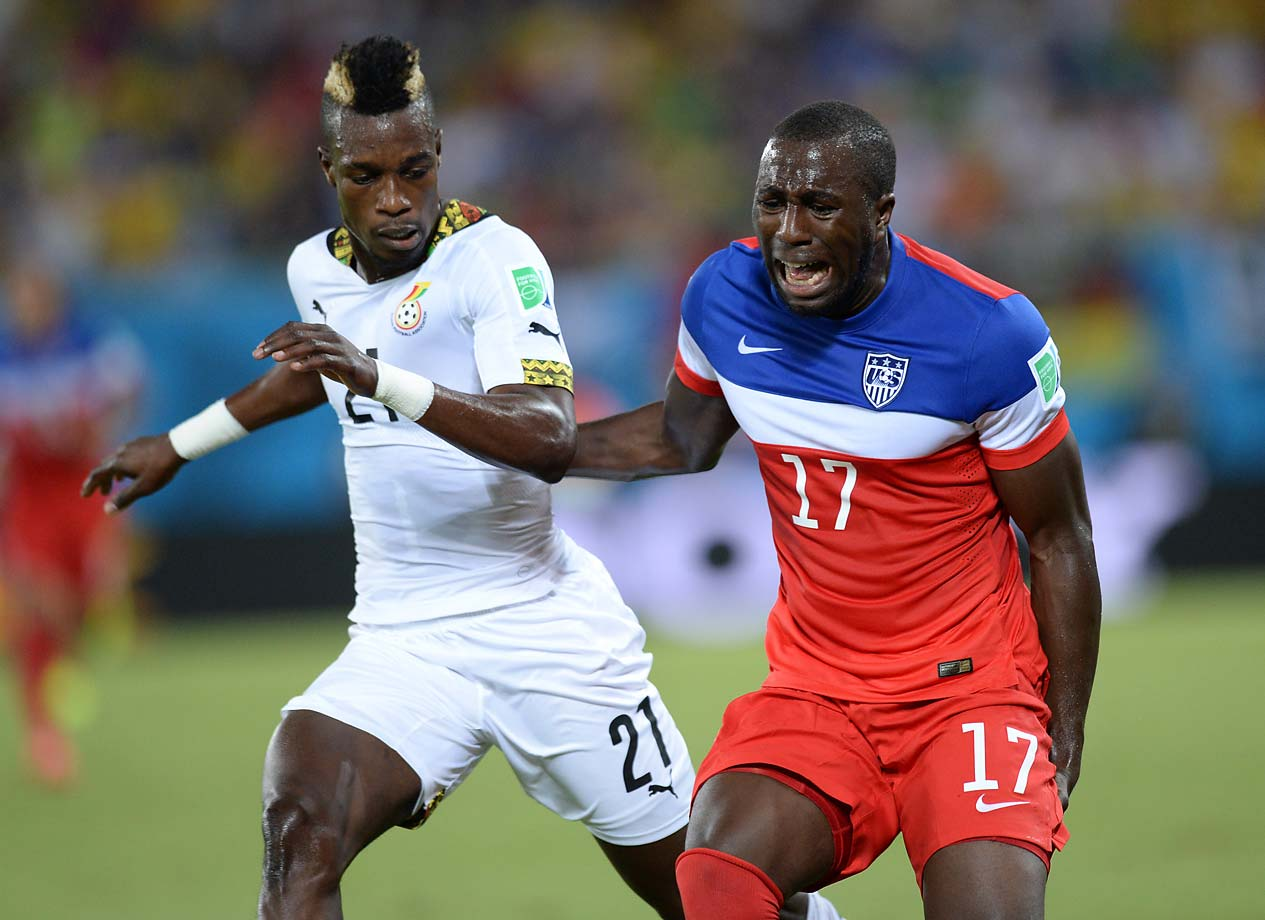 Jozy Altidore suffered a left hamstring injury when he tried to control a long ball in the 21st minute of the U.S.-Ghana match.
