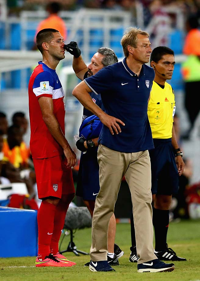 Dempsey was taken to the sidelines, where he received treatment while play continued. He returned to the field a few minutes later.