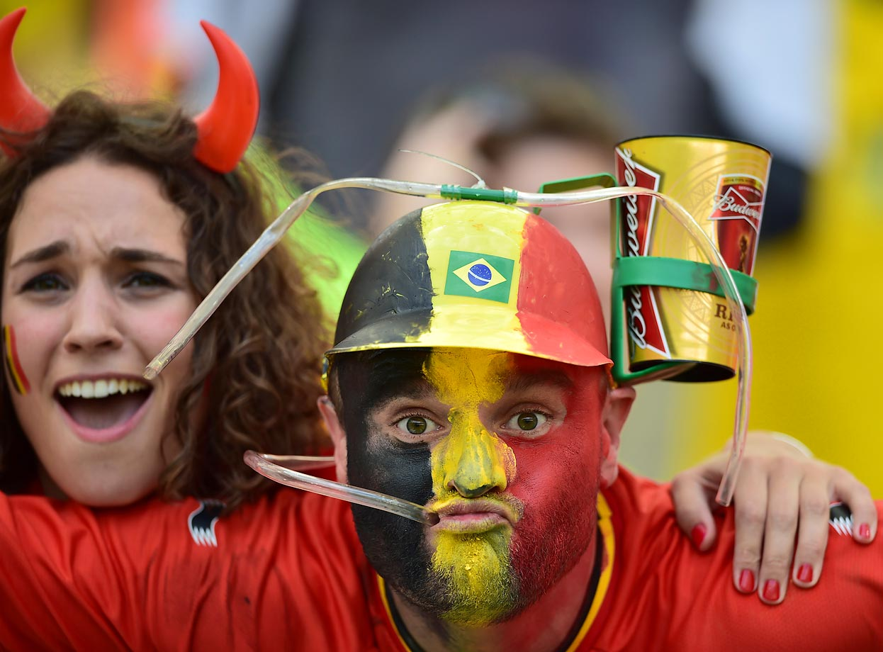 There was no waffling by these Belgian fans when it came to their refreshment of choice at the World Cup.