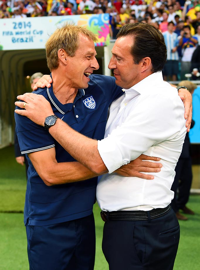 Head coaches Jurgen Klinsmann and Belgium's Marc Wilmots greet each other before kickoff.