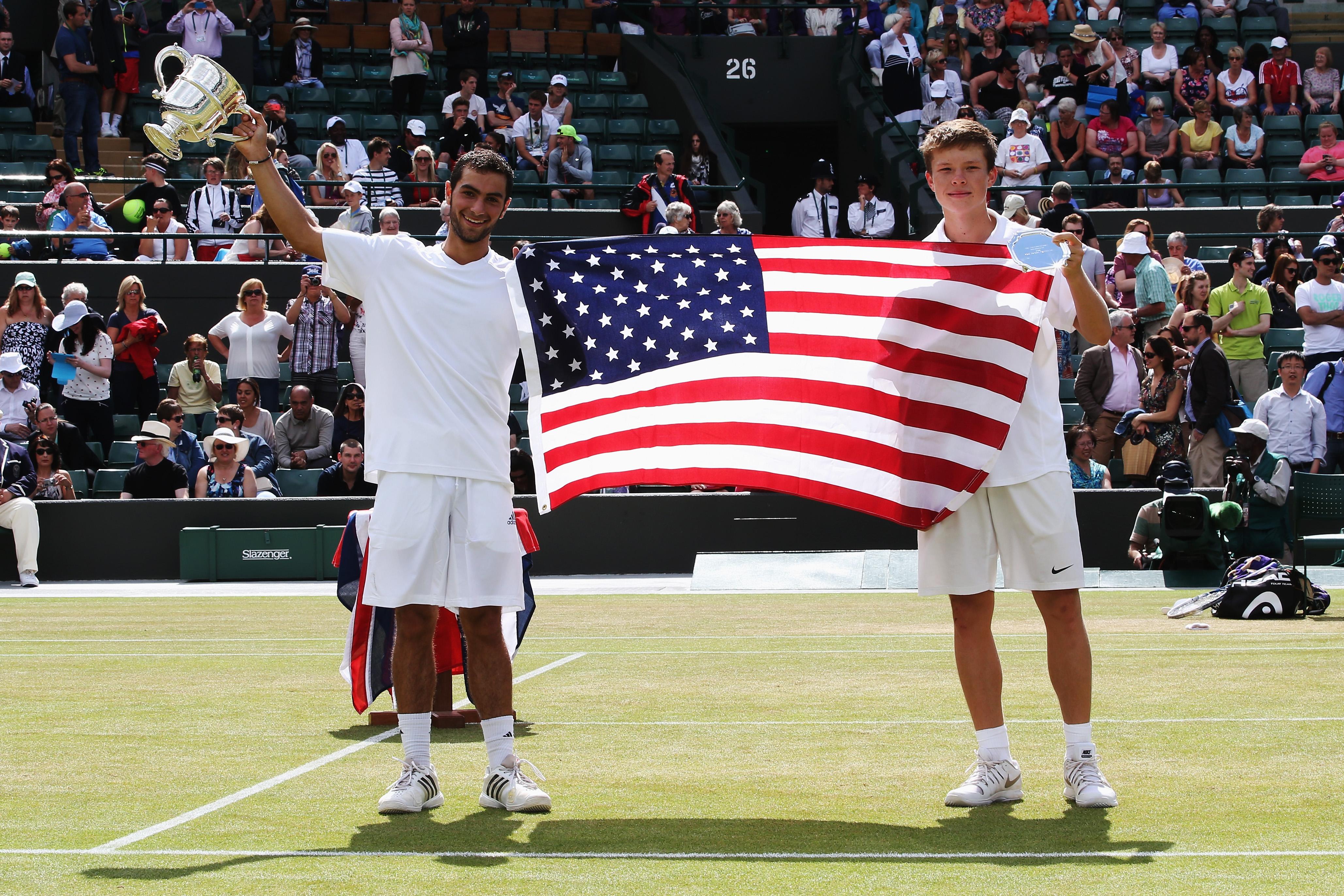 Kozlov and Rubin celebrate an All-American Wimbledon boys final.