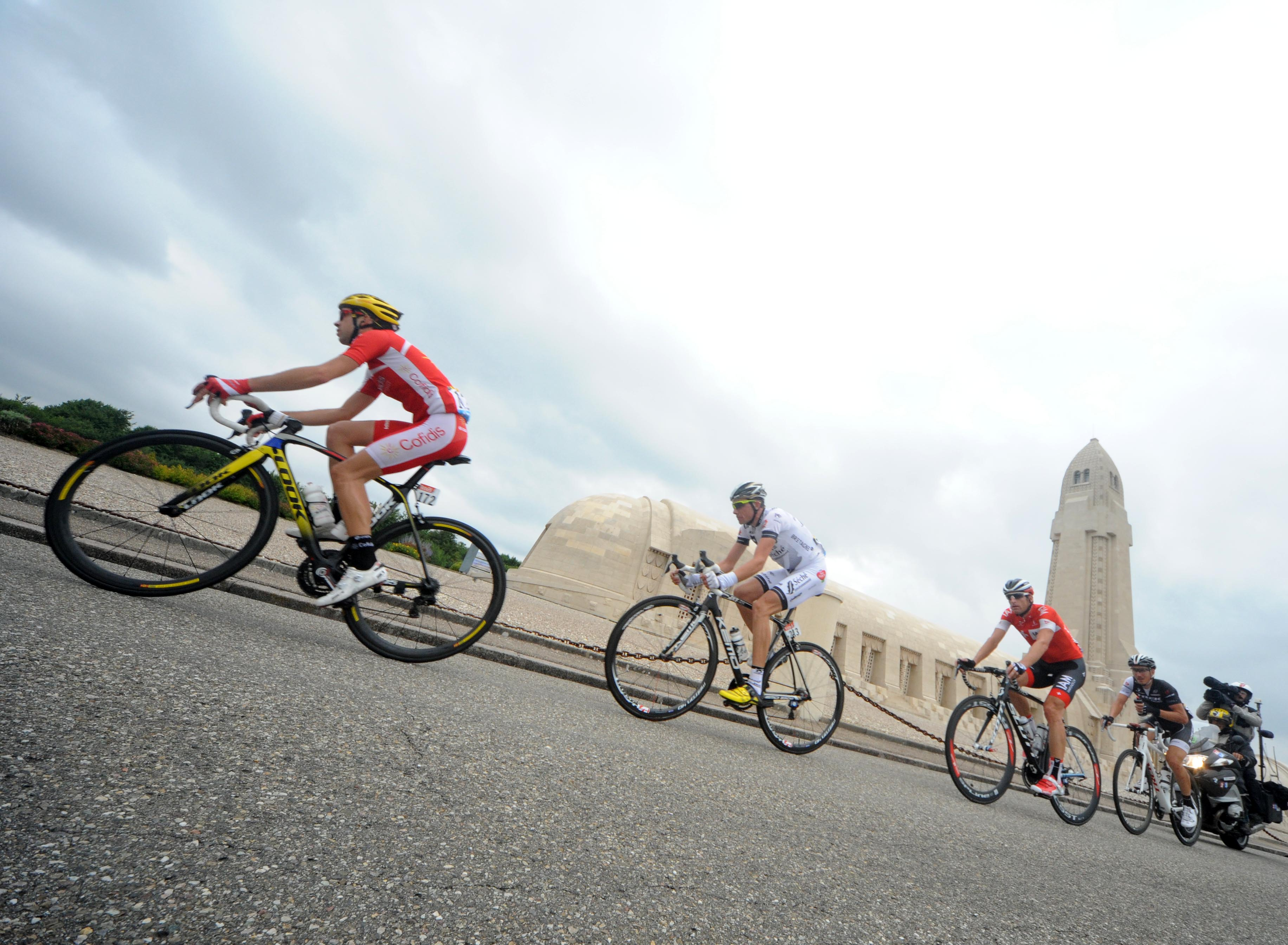 Nicolas Edet (L) of Team Cofidis Solutions Credits rides during Stage 7 of the Tour de France.