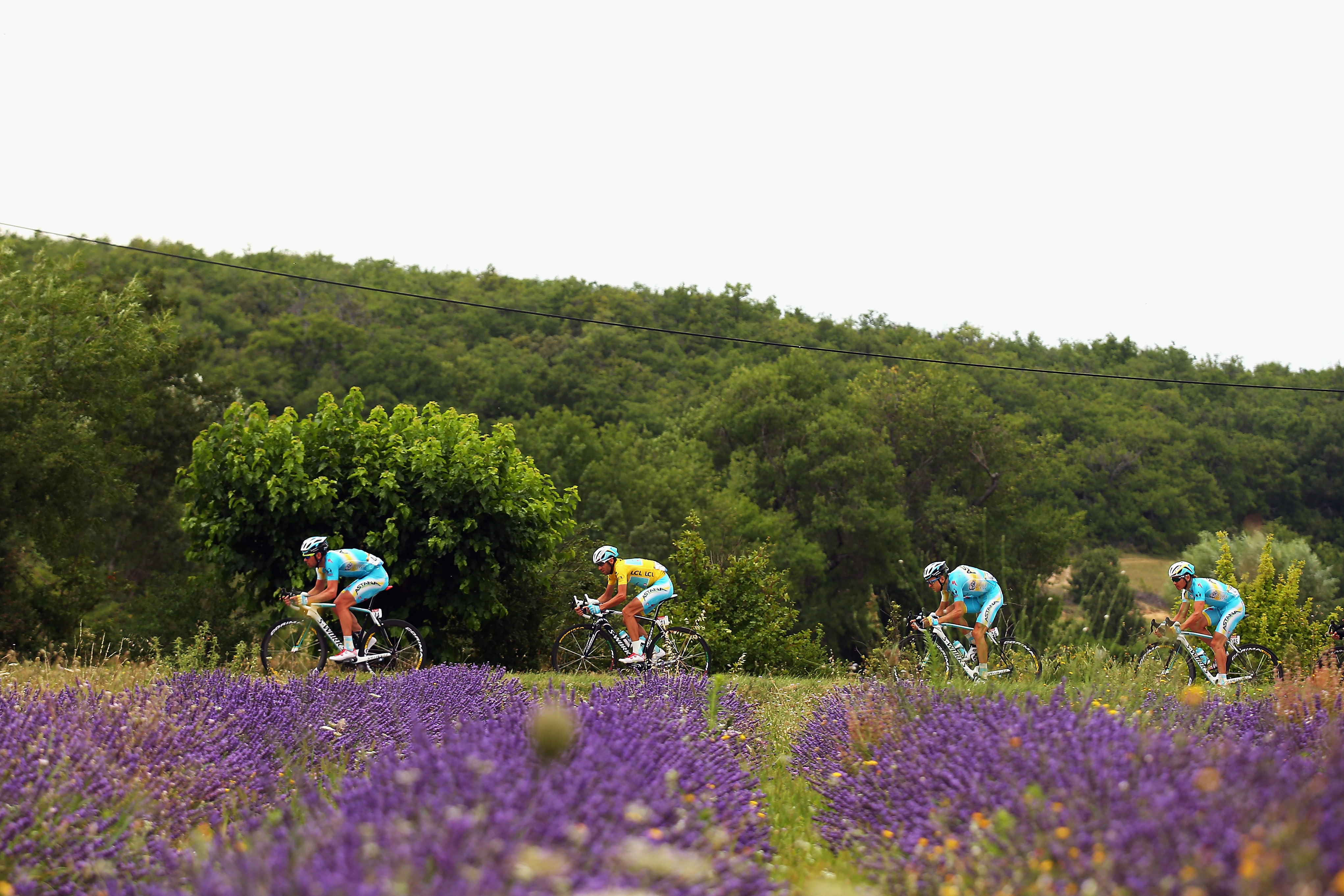 Race leader Vincenzo Nibali of Italy rides through the French countryside.