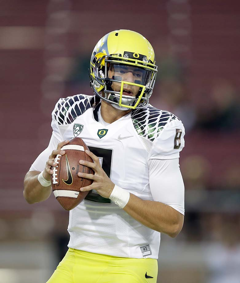 1. Michigan State at Oregon (Sept. 6, 6:30 p.m., FOX): The only thing better than an intersectional game between preseason top-10 teams is a contrast of polar opposite styles. Heisman Trophy-contending quarterback Marcus Mariota and the Ducks' blur offense will face off with coordinator Pat Narduzzi's perennially stingy defense, which ranked No. 1 nationally following last season's Rose Bowl triumph. Meanwhile, underrated Spartans quarterback Connor Cook could provide a nice litmus test for an Oregon defense that loses longtime coordinator Nick Aliotti but returns All-America cornerback Ifo Ekpre-Olumu.