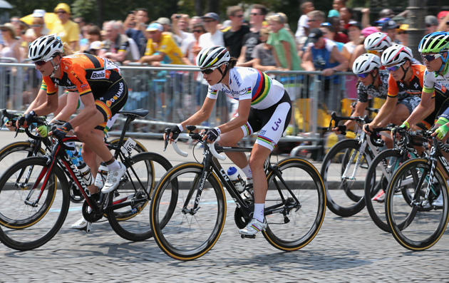 Vos in action during La Course, where riders raced 90km on Champs Elysees prior to the arrival of the Men's Tour de France final stage.