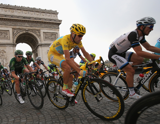 Vincenzo Nibali of Italy in action during the twenty first stage of the 2014 Tour de France, a 138km stage from Evry into the Champs-Elysees in Paris, France.