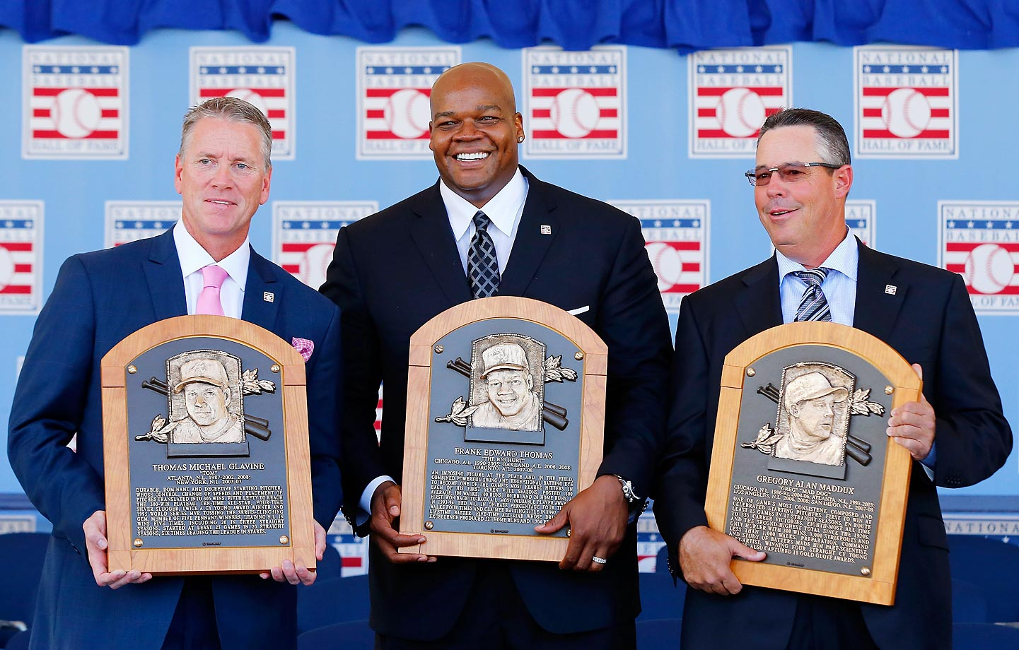 The three inductees into the Baseball Hall of Fame, Tom Glavine (left), Frank Thomas (middle) and Greg Maddux (right), were all smiles after the ceremony in Cooperstown, N.Y. on July 27, 2014. Glavine was a two-time National League Cy Young award winner, Thomas was a home run machine, hitting 521 over the course of his career and Maddux won an impressive 355 games during his 23 years in the Majors.