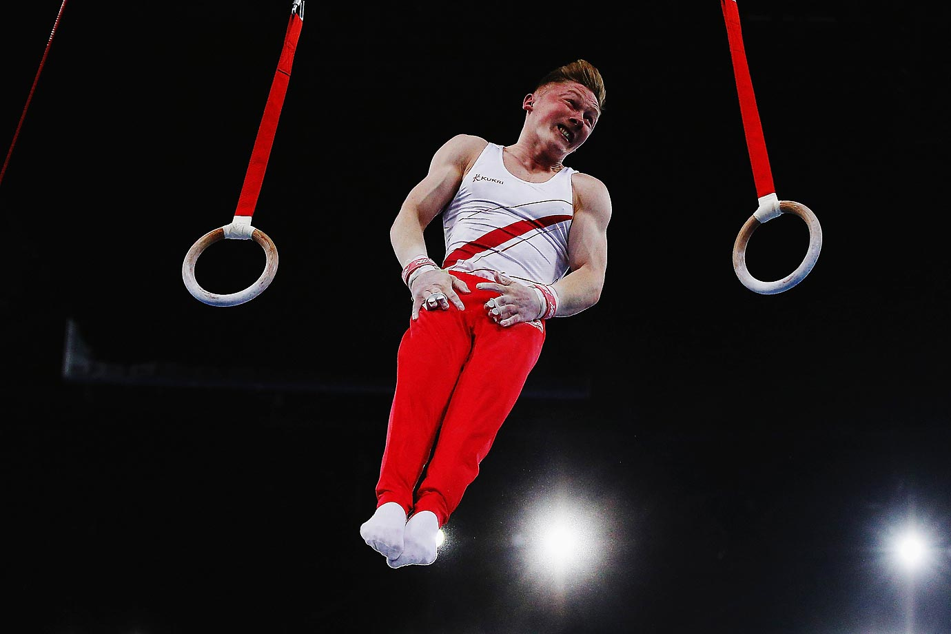 Gymnast Nile Wilson of England seemingly hovers in the air before landing to finish his routine at the Team Final and Individual Qualification at the Glasgow Commonwealth Games.