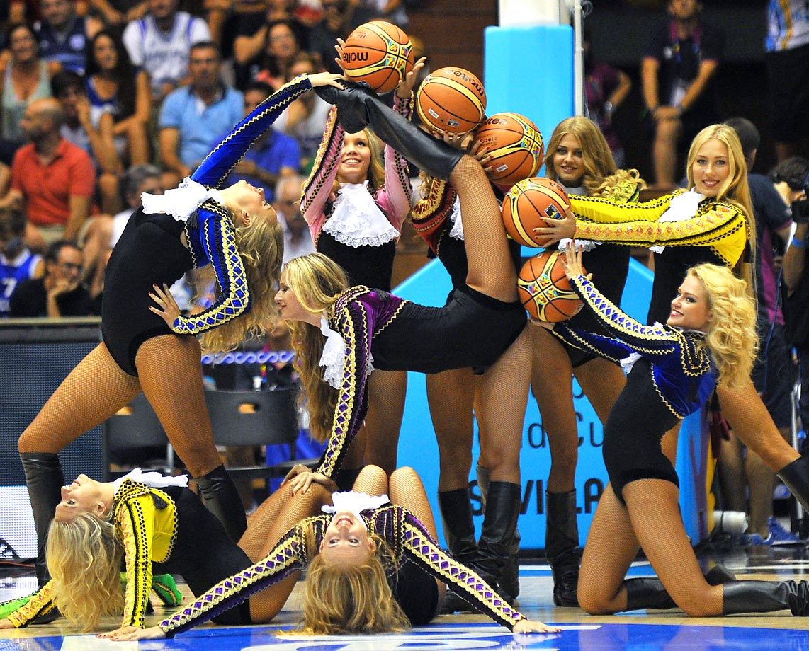 Cheerleaders perform during the 2014 FIBA World basketball championships group B match between Croatia and Puerto Rico.