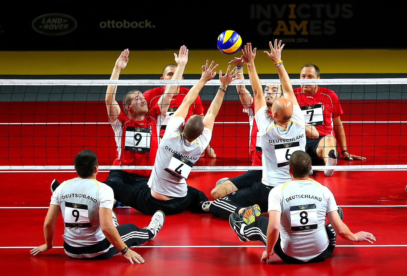 Denmark and Germany play in the Sitting Volleyball playoffs at the Queen Elizabeth Olympic Park.