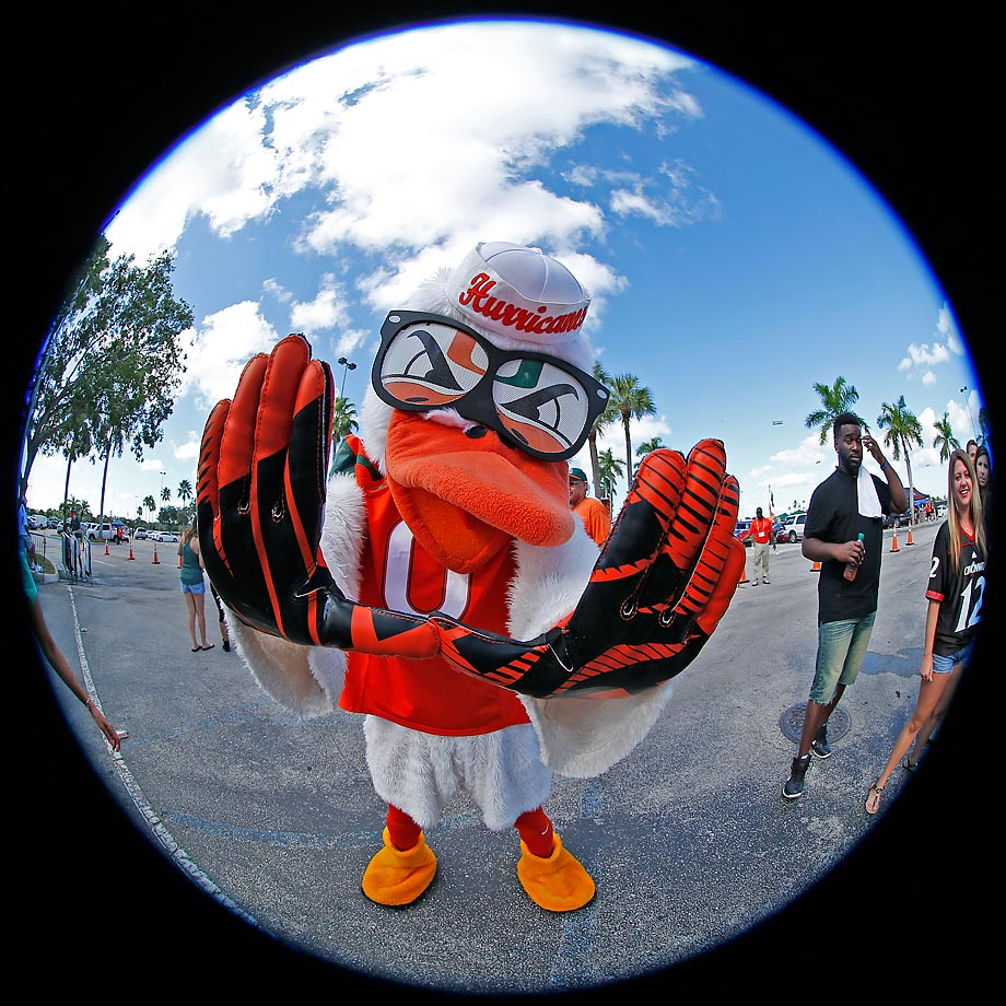 Miami Hurricanes mascot 'Sebastian the Ibis' in front of Sun Life Stadium on Oct. 11.