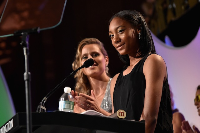 Mo'Ne Davis addresses the crowd at the 35th Annual Salute to Women in Sports