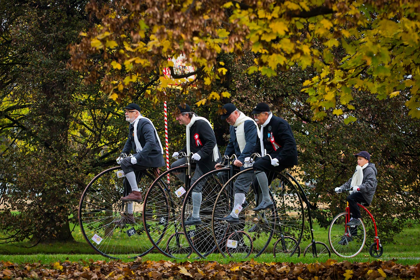 High-wheel bicyclists gather for the Prague Mile. The Czech high-wheel bicycles club was founded in 1880 and its members meet up at this race yearly.
