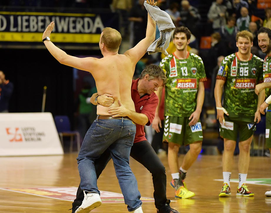 A streaker at the game between Fuechse Berlin and TSG Friesenheim in Germany.