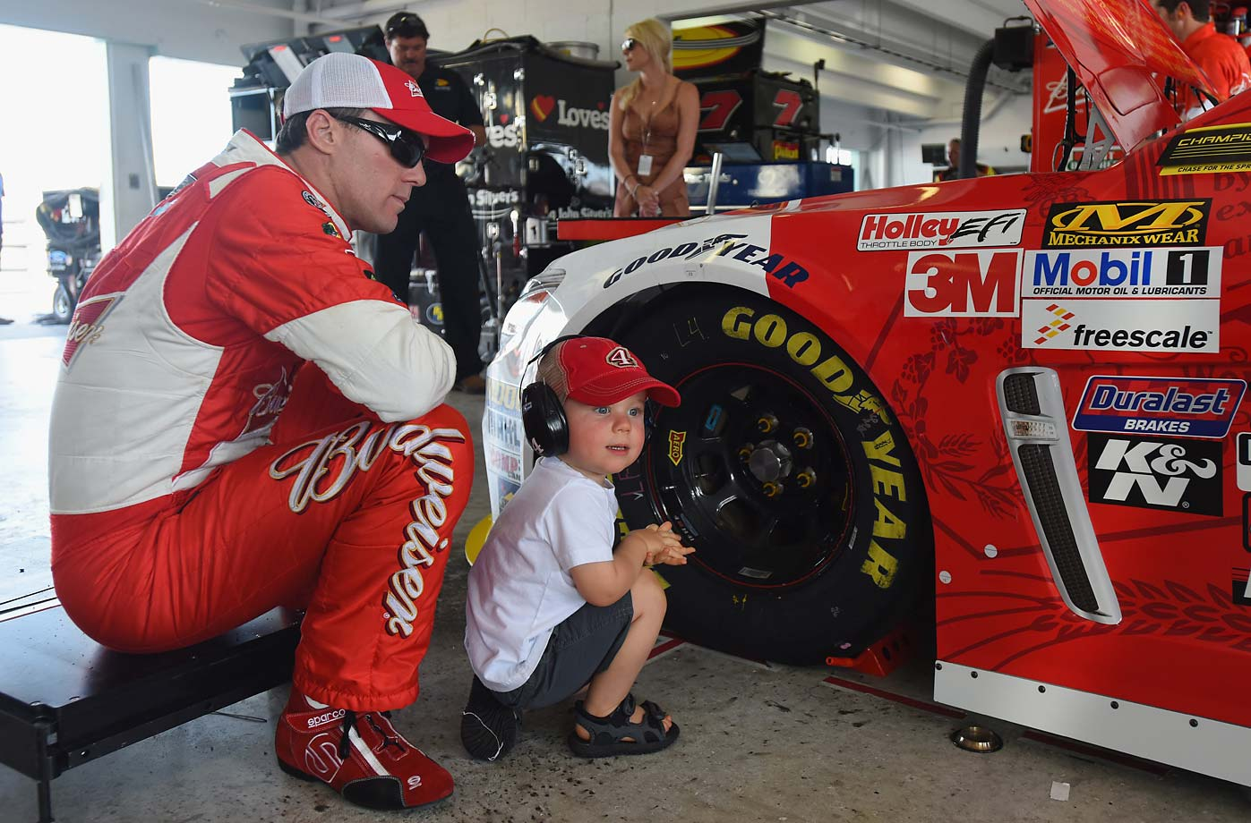 Kevin Harvick and Keelan.