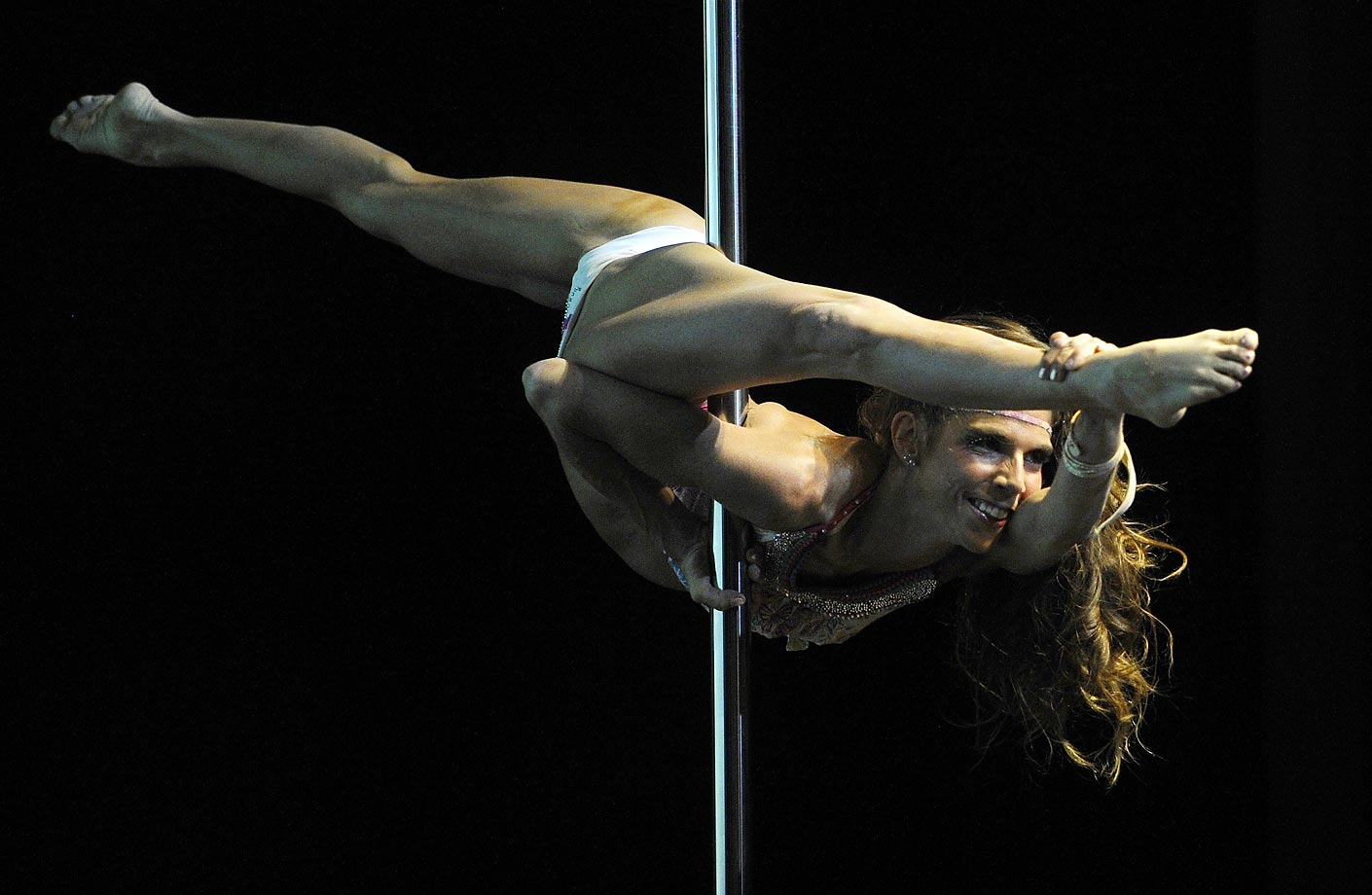 Chilean pole dancer Francisca Murillo during the South America 2014 Pole Dance competition in Buenos Aires.