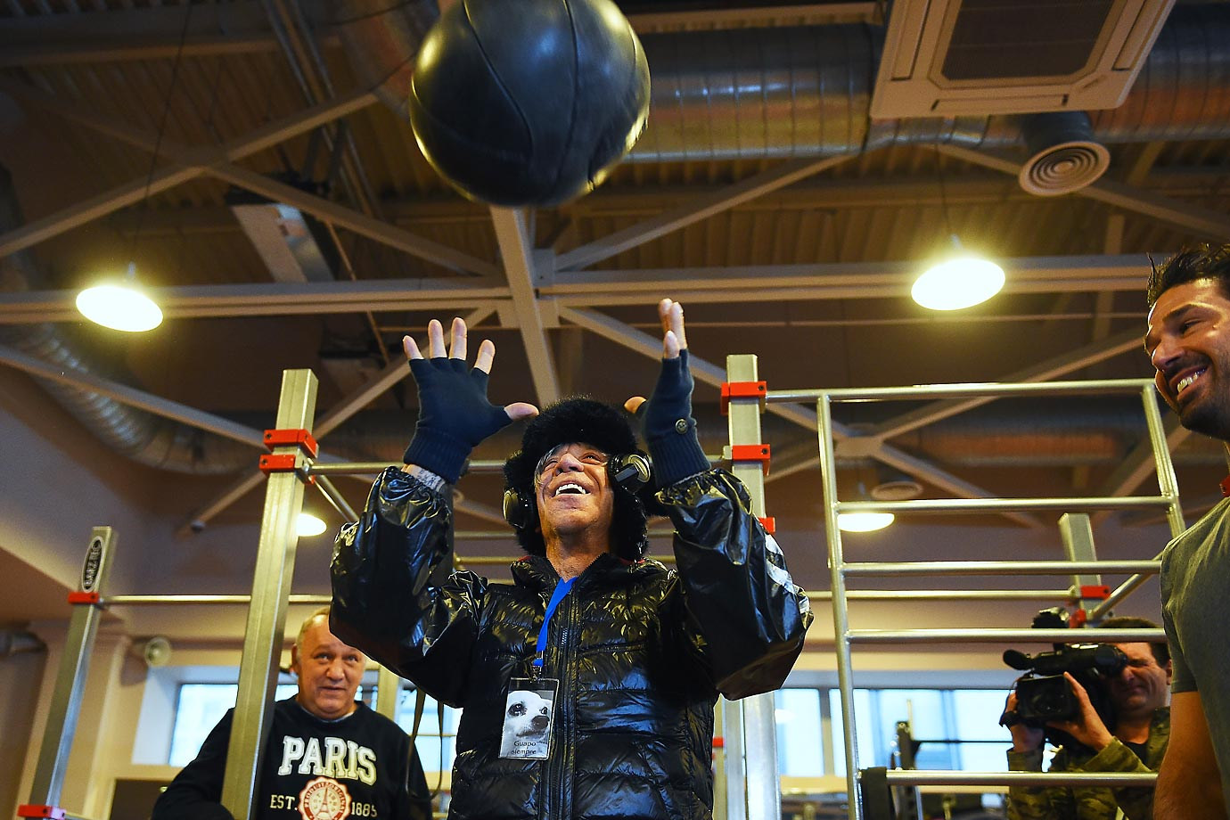 Actor Mickey Rourke trains in a World Class fitness club in Moscow.