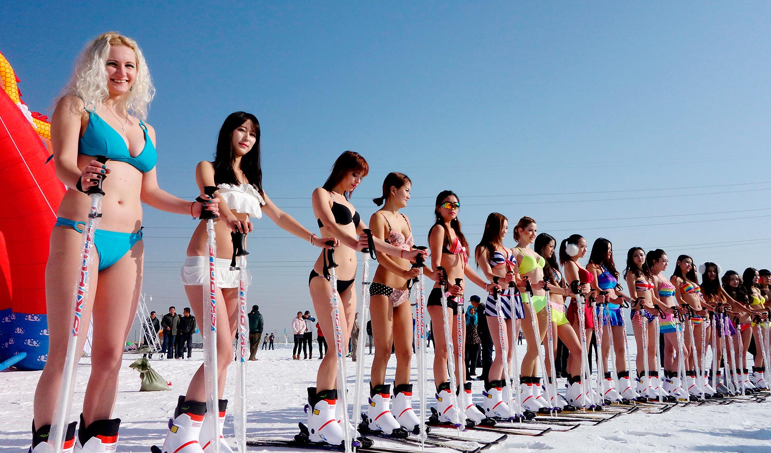 Models promote the first Ice and Snow Tourist Festival in Xining, Qinghai, China.