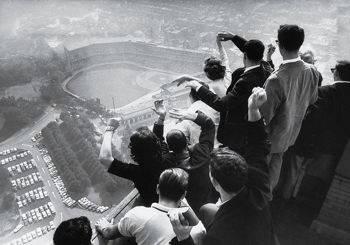 1960 World Series, Oct. 13, 1960 | University of Pittsburgh students cheer as they look down on Forbes Field from the top of their campus's Cathedral of Learning as the Pirates are winning their first World Series in 35 years against the Yankees. In Game 7, Bill Mazeroski hit the first walk-off home run in World Series history, a shot over the left-field fence that gave the Pirates a 10-9 win.