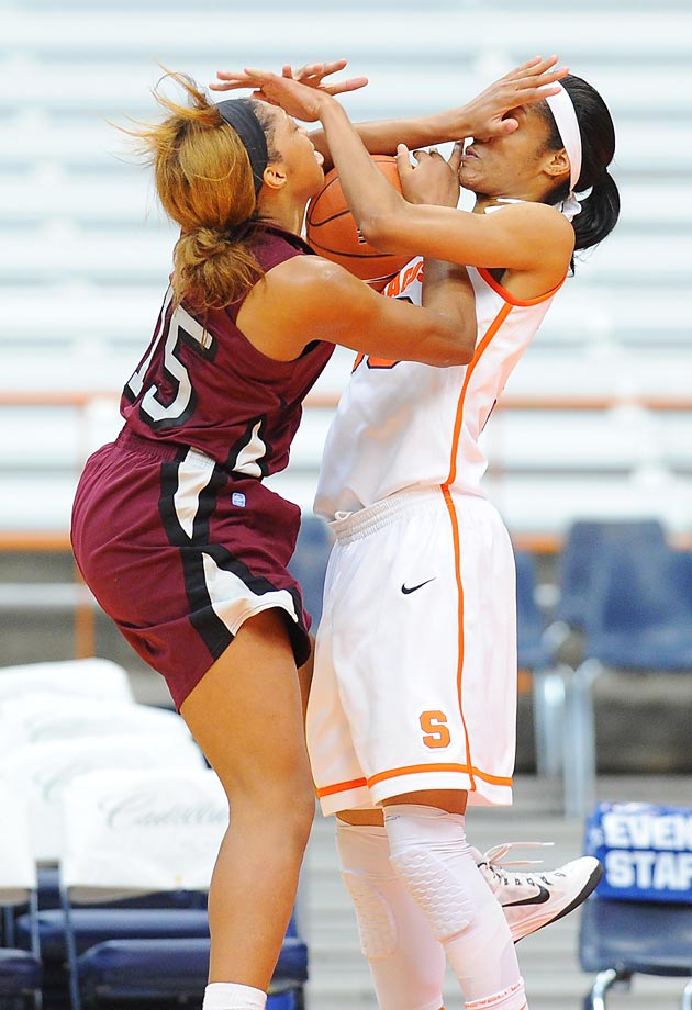 Racquel Davis of the North Carolina Central Eagles and Briana Day of Syracuse battle for a loose ball in the Carrier Dome. Syracuse won 70-25.