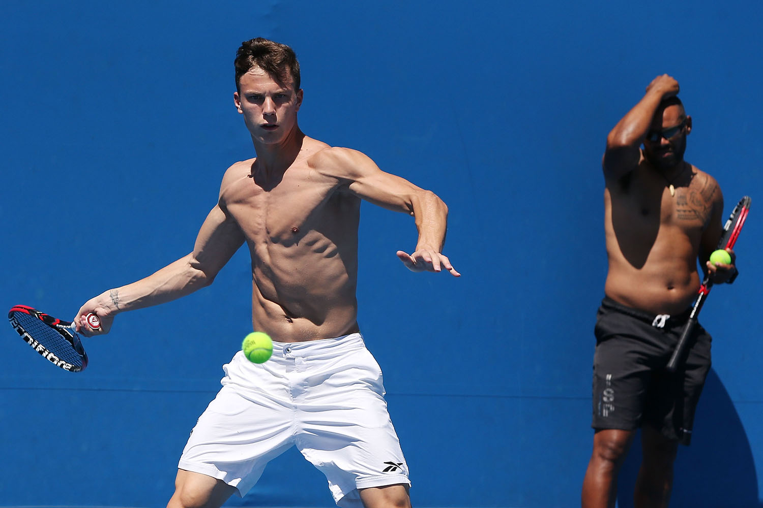 Hungarian tennis pro Marton Fuscovics trains ahead of the 2014 Australian Open at Melbourne Park in January 2014.
