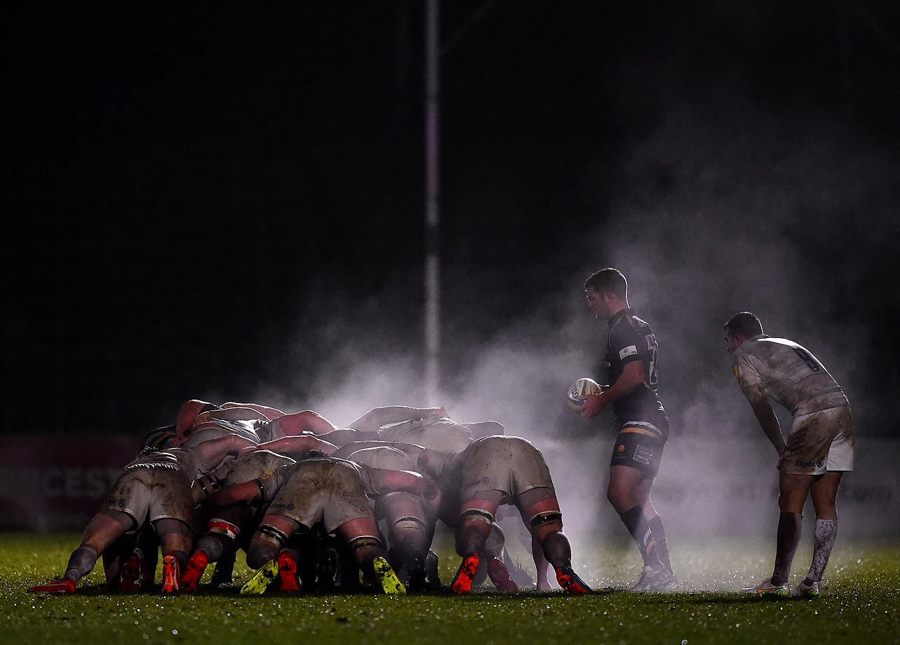 Charlie Mulchrone of the Worcester Cavaliers stands over the scrum during a match against the Saracens Storm.