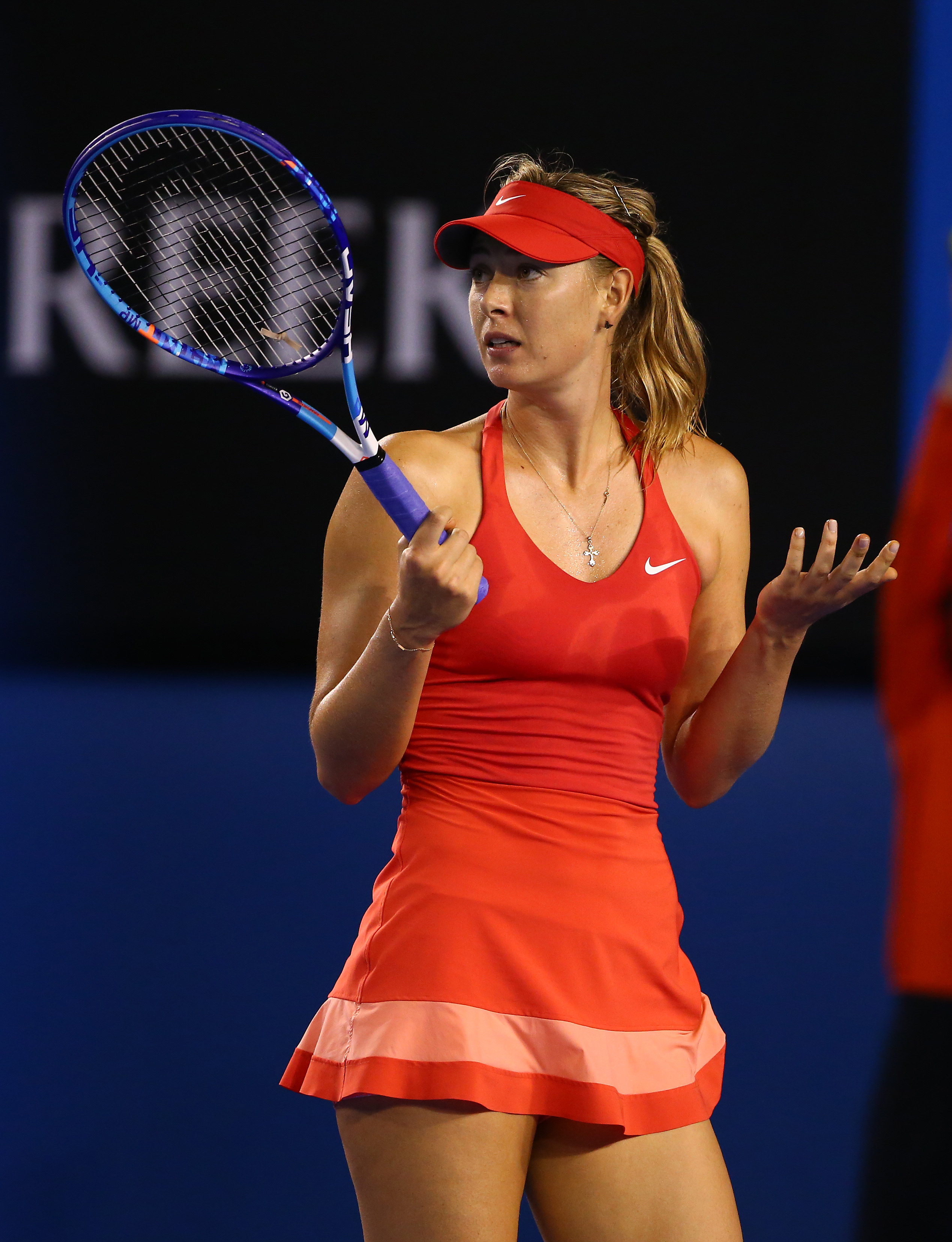 In a sea of neon, Sharapova's classy pink number hits all the right notes.